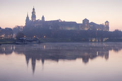 Last nights lights on the river. In Krakow in Poland Royalty Free Stock Photo