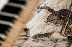 The Last Nocturne_2. Old pianoforte and sheet music Stock Images