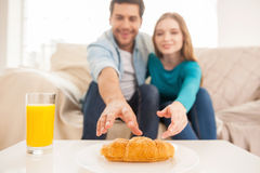 The last one croissant. Royalty Free Stock Images