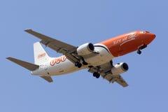 Last 737 på sista inställning Arkivfoton