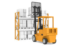 Last Pallet. Forklift truck lifting a pallet. Part Of Warehouse and Logistics Series Royalty Free Stock Photos