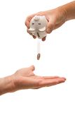 Last penny from a piggy bank Royalty Free Stock Photography