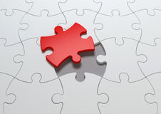 Last piece of puzzle. Last red piece of jigsaw puzzle concept Stock Image