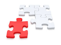 Puzzle Solution. Last red piece of jigsaw puzzle concept Royalty Free Stock Photography