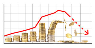 Last pile of growning graph made of coins collapsing Stock Image