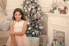 Last preparations. The morning before Xmas. Little girl. Happy new year. Winter. xmas online shopping. Family holiday. Christmas tree and presents. Child enjoy royalty free stock images
