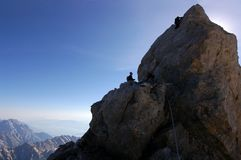 The last ptich. Summiting the Grand Teton Wyoming 13770 Royalty Free Stock Photography
