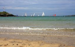 Last race of the season. At Trearddur Bay Sailing Club Isle of Anglesey Royalty Free Stock Photo
