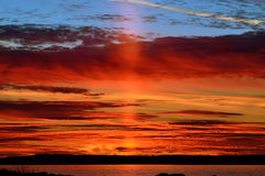 Last ray of the setting sun. Karelia, Russia Stock Image