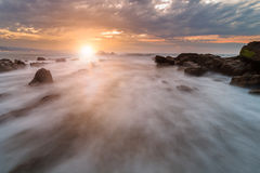 Last rays of light on barrika beach Stock Photo