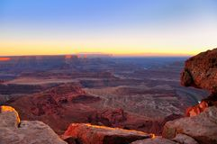 Last rays of light on Canyonlands. Viewed from Dead Horse Point, Utah Stock Photos