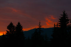 Last rays of light over mountains. The last rays of light over mountains Royalty Free Stock Photos