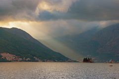 Last rays of the setting sun. Perast, Montenegro. Last rays of the setting sun. Autumn evening on Bay of Kotor, Perast, Montenegro Stock Images