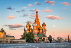The last rays of the summer sun. Illuminate St. Basil`s Cathedral on Red Square in Moscow Stock Photography