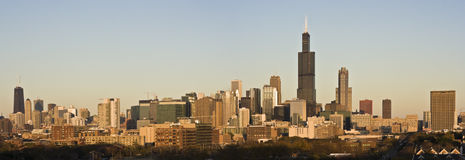 Last rays of sun in Chicago. Panorama royalty free stock image