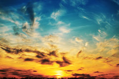 Last rays of sun in dramatic sky Royalty Free Stock Image