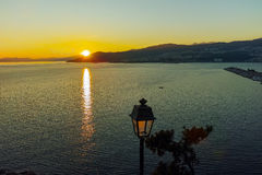 The last rays of the sun in Kavala, Greece. The last rays of the sun in Kavala, East Macedonia and Thrace, Greece Stock Photography