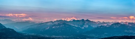 Last rays of sun on the Mont Blanc panoramic. Last rays of sun on the Mont Blanc mountain, France Royalty Free Stock Photo