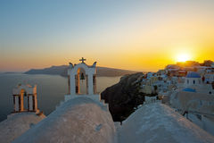The last rays of the sun in Oia Royalty Free Stock Photos
