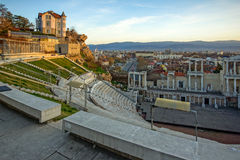 Last Rays of sun over Ancient Roman theatre in city of Plovdiv Royalty Free Stock Images