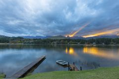 Last rays of sunlight. Drakensberg South Africa Stock Images