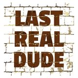 Last Real Dude printed on stylized brick wall. Textured humorous inscription for your design. Vector. Illustration stock illustration