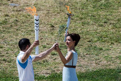 Last rehersal of the The Lighting Ceremony of the Flame for the Stock Image