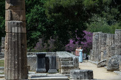 Last rehersal of the The Lighting Ceremony of the Flame for the. Olympia, Greece - April 20, 2016: Last rehersal of the The Lighting Ceremony of the Flame for Stock Image
