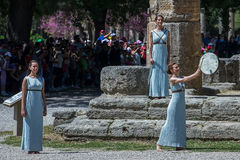 Last rehersal of the The Lighting Ceremony of the Flame for the. Olympia, Greece - April 20, 2016: Last rehersal of the The Lighting Ceremony of the Flame for Royalty Free Stock Images