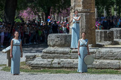 Last rehersal of the The Lighting Ceremony of the Flame for the. Olympia, Greece - April 20, 2016: Last rehersal of the The Lighting Ceremony of the Flame for Stock Images