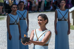 Last rehersal of the The Lighting Ceremony of the Flame for the. Olympia, Greece - April 20, 2016: Last rehersal of the The Lighting Ceremony of the Flame for Royalty Free Stock Photography