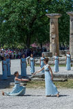 Last rehersal of the The Lighting Ceremony of the Flame for the. Olympia, Greece - April 20, 2016: Last rehersal of the The Lighting Ceremony of the Flame for Stock Photography