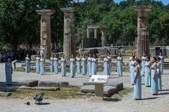 Last rehersal of the The Lighting Ceremony of the Flame for the. Olympia, Greece - April 20, 2016: Last rehersal of the The Lighting Ceremony of the Flame for Royalty Free Stock Image