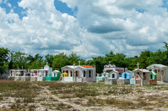 Last Resting Place. Beautifully decorated graves in Yucatan, Mexico royalty free stock image