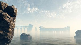 Last Ruins of Lost Atlantis. Last remains of the ruined lost city of Atlantis viewed across a misty sea, 3d digitally rendered illustration