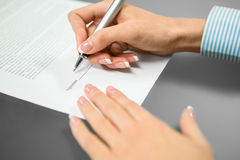 The last signature needed. Stock Images