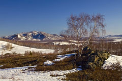 Last snow at South Ural mountains. Russia, South Ural, Kurkak mountain, near Magnitogorsk city Stock Photo