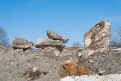 Last snow, spring. Last dirty snow, dripping meltwater, spring, Belarus stock photos
