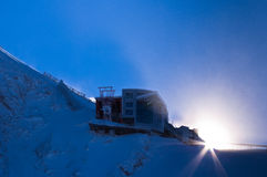 Last station at the top of Kaprun glacier in Austrian Alps Royalty Free Stock Image