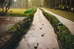 The last steps. traces leading to the site of the murder of the father of the Indian nation Mahatma. Gandhi royalty free stock photo