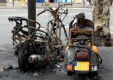 Last stop. Bikes burned out during the street riots Stock Photo