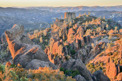 Last Sunight on Pinnacles National Park, California, USA. Sunset over the volcanic monoliths of Pinnacles National Park Stock Photo
