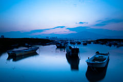 Last sunrise and fishing sub-dug, the new Taipei, Royalty Free Stock Photography
