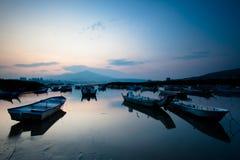 Last sunrise and fishing sub-dug, the new Taipei, Royalty Free Stock Image