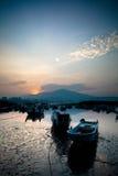 Last sunrise and fishing sub-dug, the new Taipei, Stock Photo