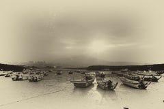 Last sunrise and fishing sub-dug Stock Images