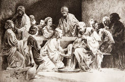 Last super of christ - feet washing Royalty Free Stock Image