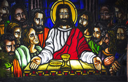 Last Supper. A stained glass of The Last Supper inside a Catholic church in the Philippines Royalty Free Stock Photo