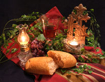 Last Supper. Communion still life - bread and wine with candles Stock Photo