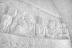 Last supper. Carved in ice at the Ice Chapel in Romania Royalty Free Stock Image